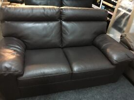 ScS Ex Display Brown Leather 2 Seater Sofa
