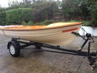 15 ft fiberglass boat trailer outboard oars