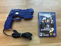 PlayStation 2 time crisis 3 game and Namco light gun. Ps2