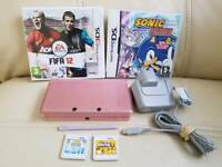 Nintendo 3DS metallic pink + 4 games inc super mario bros 2