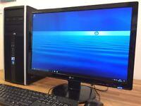 "***VERY FAST Full Set HP / Windows 10 / QUAD CORE PC + 22"" LG Monitor Desktop PC Computer"