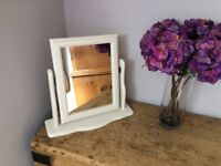 Dressing table mirror painted vintage ivory