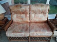 Conservatory furniture cane settee and chairs