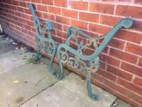 Nice old set of old heavy lions head cast iron bench ends for self build project £40