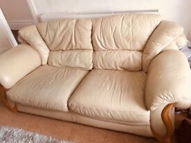 Leather sofa and x2 chairs