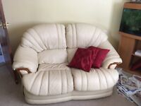 Cream Leather Three-Piece Suite in Perfect Condition, includes 3,2 and 1 seat sofa