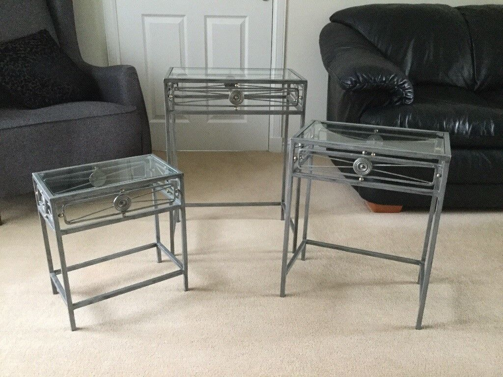 Wrought iron/glass occasional tables
