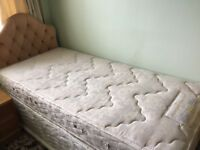 3 foot divan bed with headboard and bedding and duvets