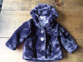 12-18 mths Purple Faux Fur Girls Winter Coat