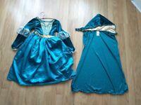 DISNEY MERIDA BRAVE DRESS + CAPE 7 TO 8 YR