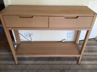 Solid wood Oak 2 drawers console table