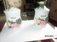 2 lovely glazed tea and sugar containers