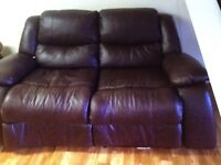 BROWN LEATHER 2 SEATER ALL RECLINING SOFA