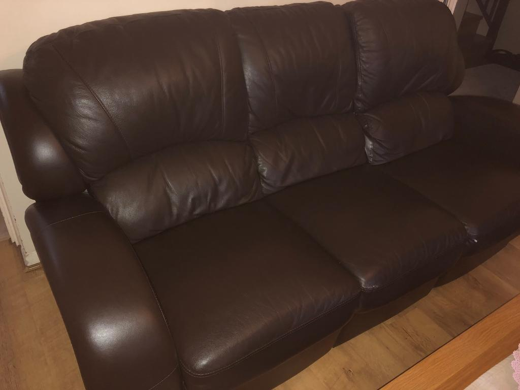 A Full Set Of Brown Leather Sofas Single Double And Triple With Leg Rest