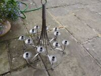 12 Candlestick Chandelier: in Brushed Steel