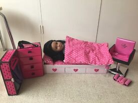 Designer friend with bed, hair styling chair and a few clothes.