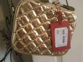 Valentino spiked gold leather bag