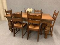 Oak Dining Table & Chairs Bulbous Carved Jacobean Style 6 Ladder Back Chairs - Delivery Available for sale  Winterton, Lincolnshire