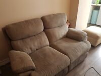GREY FABRIC TWO SEATER MANUAL RECLINER SOFA
