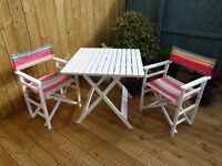 GARDEN CHAIRS PATIO SET table and 2 director chairs NEARLY NEW from DOBBIES