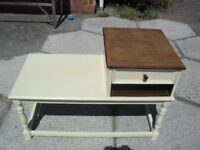 Shabby Chic Solid Oak Farmhouse Country Telephone Table /Seat In Farrow 7 Ball Cream No 67