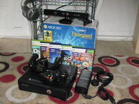XBOX 360 KINECT WITH GAMES AND YOKE TYPE STEERING WHEEL