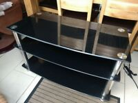 Black & silver TV stand