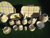 Spanish ceramic kitchen set , excellent condition ,blue/yellow check as shown in pic