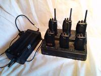 PMR446 6x Icom IC-F22SR Handheld radios with charging station