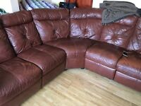 5 seater corner leather reclining sofa £250