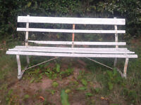 Old 6' Wrought Iron and Hardwood Garden Bench