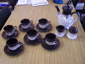 15 piece brown and beige retro coffee set with cups saucers coffee pot and cream and sugar