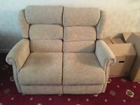 3 piece suite- 2 seater sofa + 2 chairs ( 1 with electric recliner)