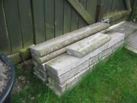 Concrete round top edging stones x 25 - used.