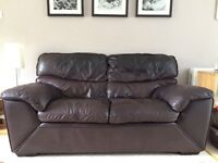 2-seater designer brown Italian leather sofa (used)
