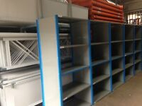 JOBLOT 8 bays of QBS heavy duty industrial shelving 2.1m high ( storage , pallet racking )