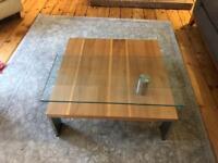 hulsta swivel glass coffee table