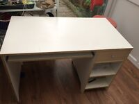 White Ikea Desk with drawer, pull out keyboard tray and 2 shelves