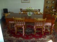 SOLID 7 FOOT PINE TABLE & SIX CHAIRS