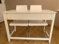 White Wood Desk & 2 Hard Back Chairs