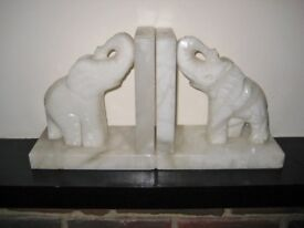 Pair Of Heavy White Grained Marble Bookends Featuring Elephants.