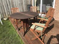 Wooden garden table with 4 chairs