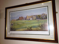 "Great Signed and Framed Picture By Bernard Willington - ""The Old Course, St. Andrews"""