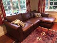Marks and Spencer brown leather corner sofa