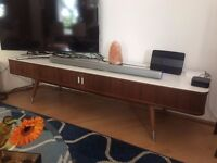 Mid Century Walnut media & tv cabinet with white corian top
