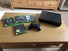 Xbox one X with 4 games