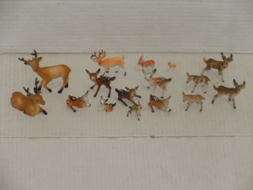 VINTAGE LOT OF (16) HARD & SOFT PLASTIC BAMBI DEER PLUS OTHERS ALL SIZES CUTE