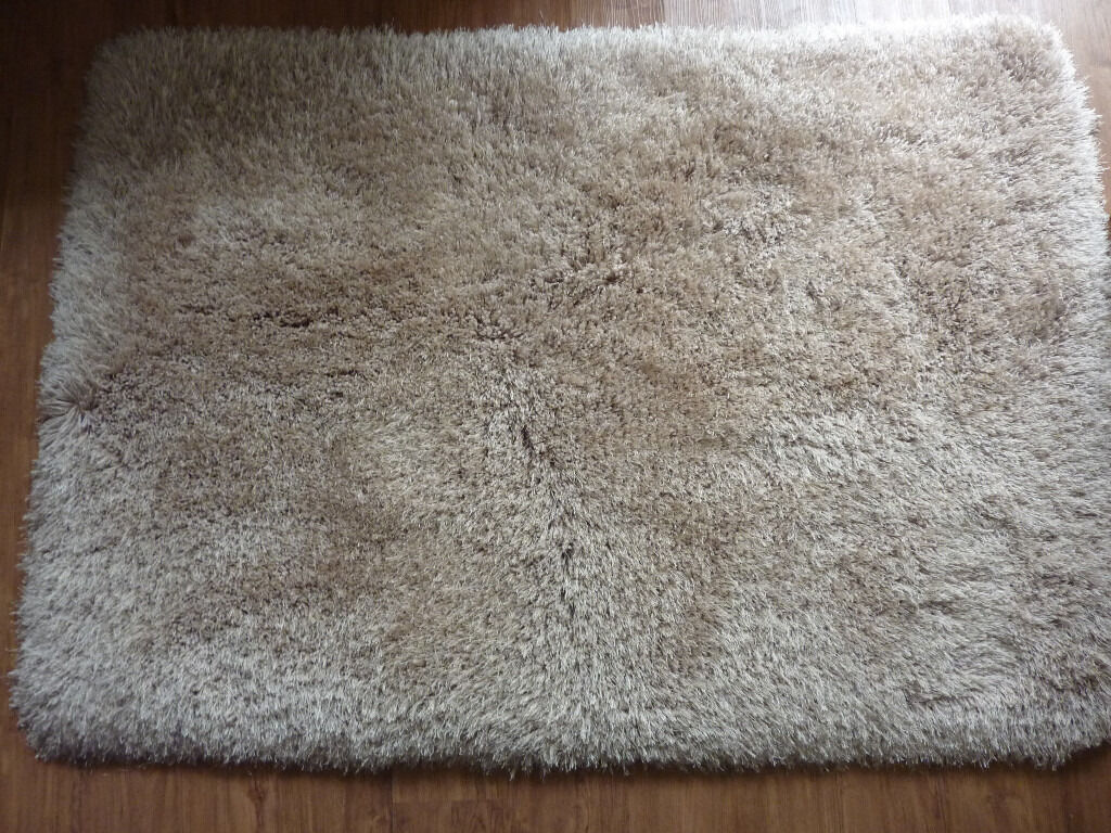 Beautiful Once Cream Beige Thick Shaggy Rug 170 X 120cm