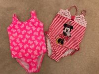 Swimming costumes - DISNEY Minnie Mouse, and pink with butterflies. 12-18 months