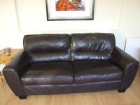 Two and three seater brown leather sofas. Sold together or separately